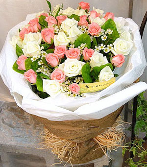 21枝粉玫瑰/只愿有你伴-订花人鲜花