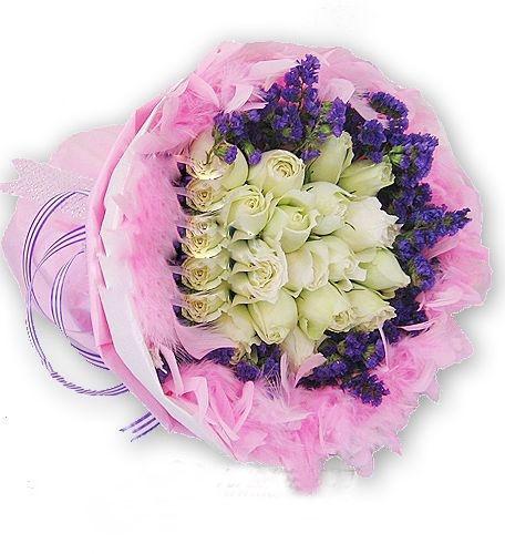 19枝白玫瑰/似水柔情-�花人�r花