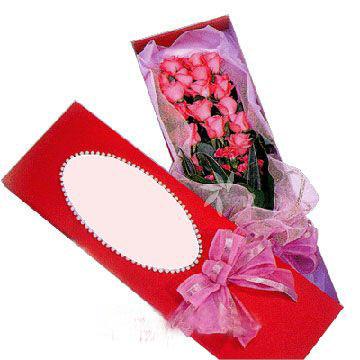 19枝粉玫瑰/真��-�花人�r花
