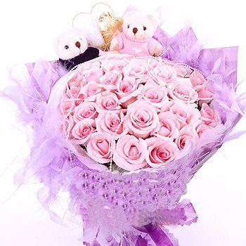 36枝粉玫瑰/�y手一生-�花人�r花