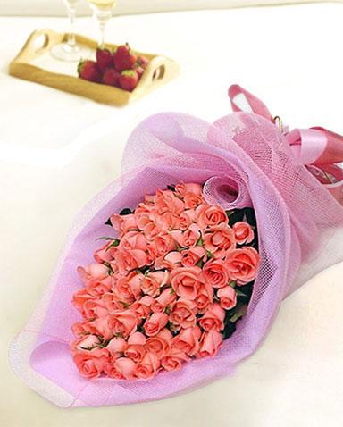 72枝粉玫瑰花/用心爱着-订花人鲜花