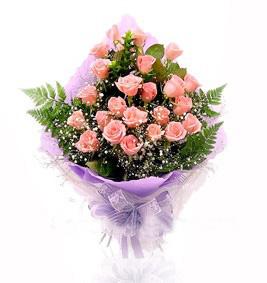 24枝粉玫瑰/天�L地久-�花人�r花