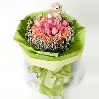 9枝粉玫瑰/快乐理由-订花人鲜花