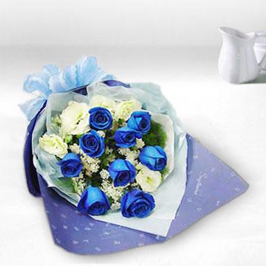 9枝蓝色妖姬/希望-订花人鲜花