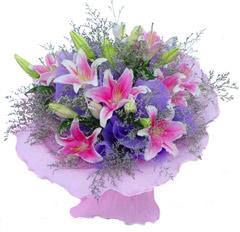 6枝香水粉百合/流星花园-订花人鲜花