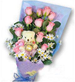12枝粉玫瑰/祈盼-�花人�r花