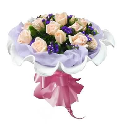 18枝香槟玫瑰/永远美丽-订花人鲜花
