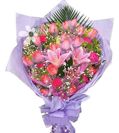 18枝粉玫瑰/�垡��-�花人�r花