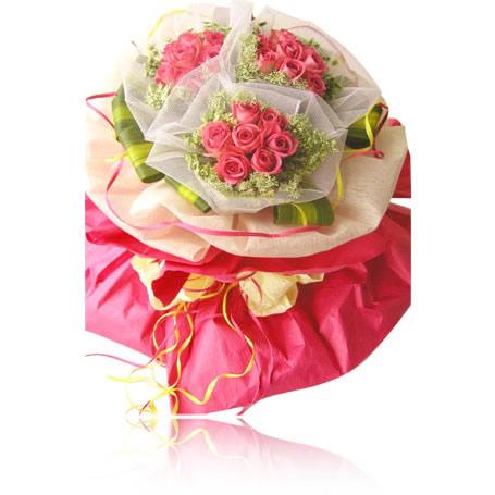 21枝粉玫瑰/嫁�o我吧-�花人�r花