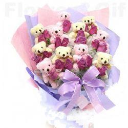 19枝紫色玫瑰/爱在花香