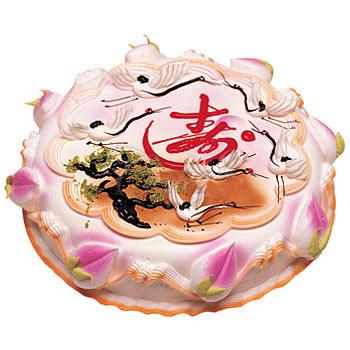 祝寿蛋糕/松鹤长春(8寸)-订花人鲜花