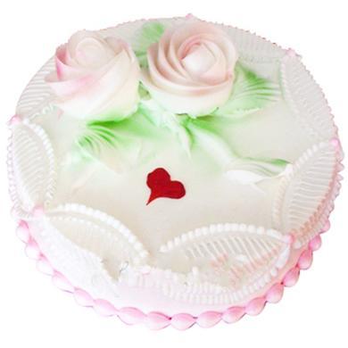 鲜奶蛋糕/盛开的玫瑰(8寸)-订花人鲜花