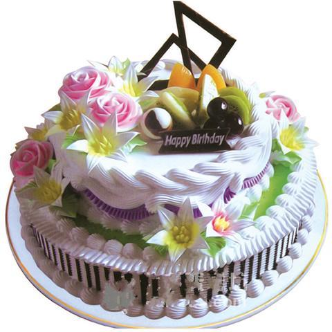 双层圆形水果蛋糕/春暖花香(10寸)-订花人鲜花