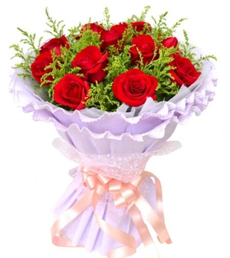 11枝�t玫瑰/幸福的�`放-�花人�r花