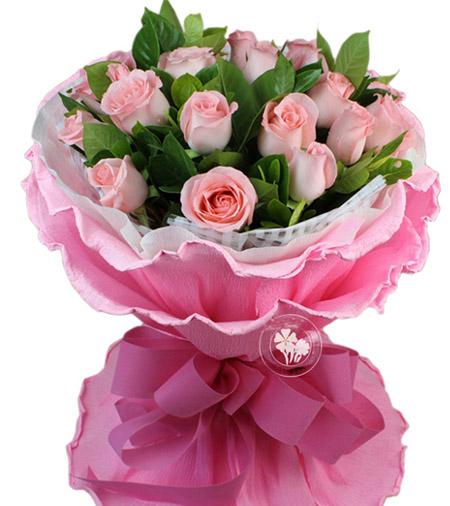 19枝粉玫瑰/浪漫与激情-订花人鲜花