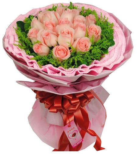 19枝粉玫瑰/友情-�花人�r花