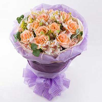 你最珍贵/12朵香槟玫瑰-订花人鲜花