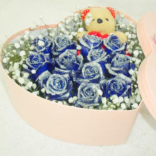 心心相�B/12朵�{玫瑰-�花人�r花