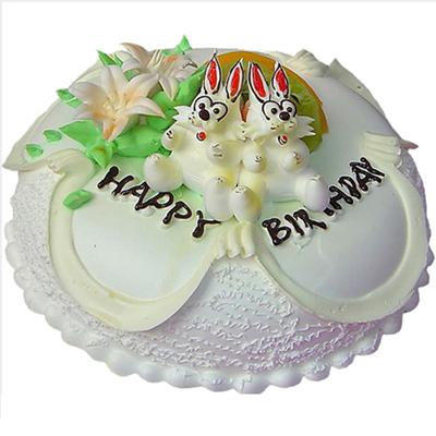 鲜奶蛋糕/兔兔很爱你-订花人鲜花