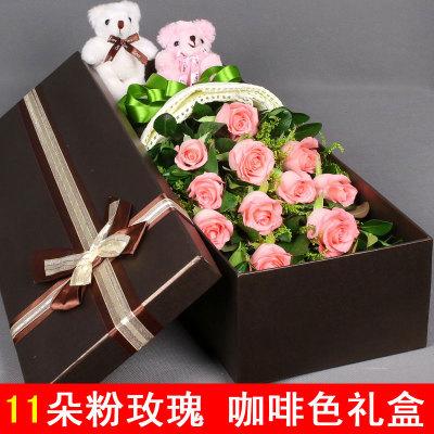 �Y盒/11枝粉玫瑰-�花人�r花