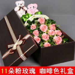 礼盒/11枝粉玫瑰