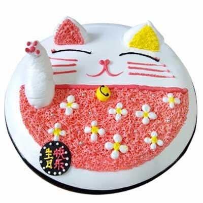 鲜奶蛋糕/招财猫-订花人鲜花