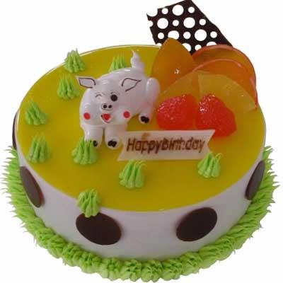 鲜奶蛋糕/灿烂猪宝贝-订花人鲜花