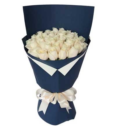 29枝白玫瑰/海洋之心-订花人鲜花